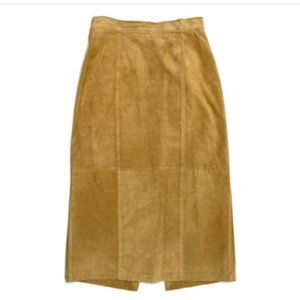 Vintage 70s Suede Leather Pencil Skirt 8 XS Tan